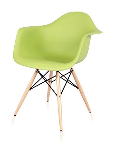 Mid Century Eiffel Arm Chair with Wooden Dowel Legs (Green)