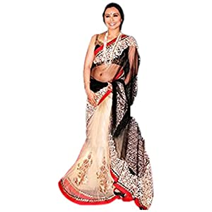 Indian bollywood replica ethnic rani mukarjee off white saree-Frinkytown