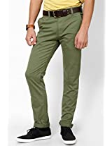 Slim Fit Green Casual Trouser