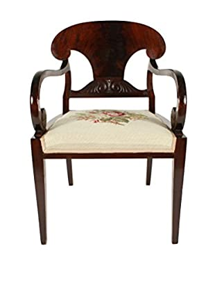 French Mahogany Library Chair, Brown/Tan/Green