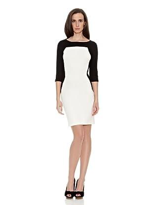 Cortefiel Vestido Bicolor (Negro / Blanco)