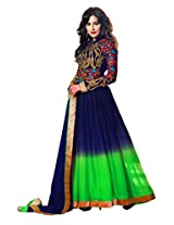 Khushali Presents Multi Embroidered Net,Santoon Anarkali Semi-Stitched Dress Material With Velvet Coti(Blue,Green)