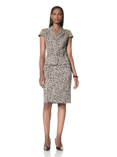 Tahari by A.S.L. Women's Printed Short Sleeve Jacket with Matching Skirt (Black/Beige)