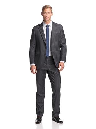 Samuelsohn Men's Stripe Suit in Loro Piana Wool (Grey Stripe)