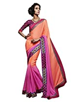Viva N Diva Orange & Pink Color Cotton Silk Saree.