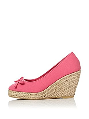 Alex Silva Zapatos Cuña Jute Wedge Front Bow Pumps (Fucsia)