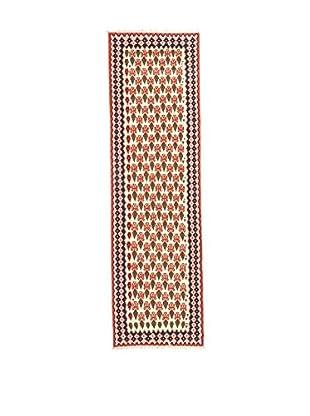 Rugsense Teppich Kilim Persian Senneh weiß/rot/mehrfarbig 287 x 73 cm