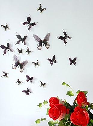 Ambiance Live Wandtattoo 18 tlg. Set 3D Adhesive Butterflies Chic translucid schwarz