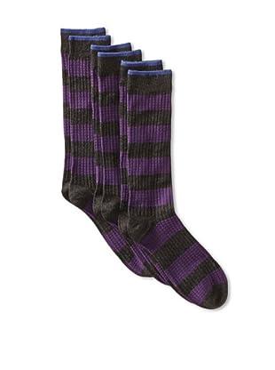 2xist Men's Waffle Rugby Stripe Crew Socks - 3 Pack (Black/Charcoal)