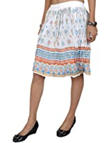 Exotic India Midi-Skirt With Printed Flowers and Golden Painted Border - Color WhiteGarment Size Free Size