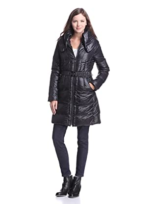 Elie Tahari Women's Enrica Long Puffer Coat with Belt (Black)