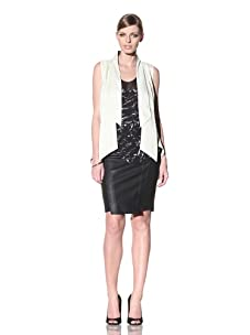 FACTORY by Erik Hart Women's Crepe Vest with Chiffon Back Panel (Ivory)