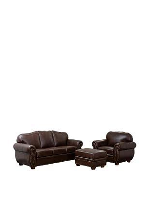 Abbyson Living Pearla 3-Piece Italian Leather Sofa, Armchair & Ottoman, Dark Truffle