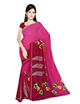 Sonal Trendz Pink Color Printed Georgette Saree with Blouse