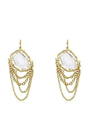 Riccova Sliced Glass & Cascading Chain Earrings with CZs