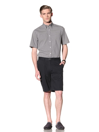 Report Collection Men's Gingham Button-Front Shirt (Black)