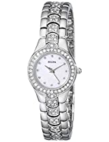 Bulova Crystal Analog Mother of Pearl Dial Women's Watch - 96T14