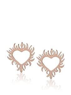 Catherine Angiel Rose Gold Flaming Heart Stud Earrings