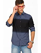 Solid Navy Blue Casual Shirt Locomotive