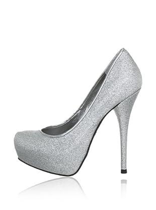 Buffalo London 21485X-980 TEC GLITTER BRAZ PU 137706 - Zapatos clásicos de tela  mujer (Plateado)