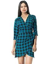 Roving Mode Women's Polka Dot Wrap Dress, Forest Green, Small