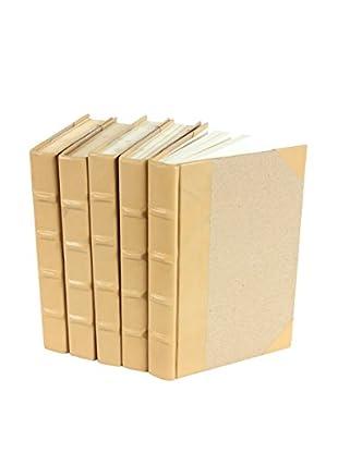 Set of 5 Goatskin Collection Books, Beige/Tan