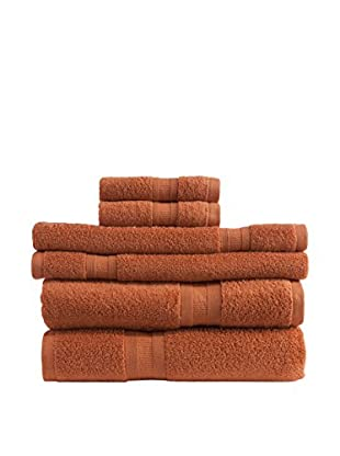 Home Source MicroCotton Aertex 6-Piece Towel Set, Paprika