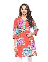 Purab Paschim Womens Cotton Tango Red Large Kurta