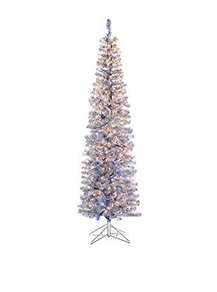 Kurt Adler 7' Pre-Lit Silver Tinsel Slim Winchester Tree
