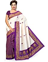 ISHIN Bhagalpuri Silk Blue & Beige Embroidery Saree