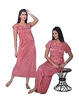 Indiatrendzs Bridal Sexy Hot Nighty Pink 2pc Set Silk Satin Lingerie Evening Wear