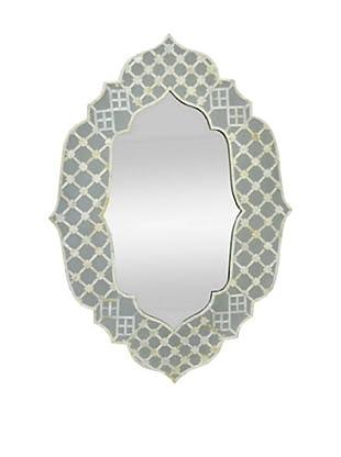 Three Hands Wood Framed Blue/White Mirror
