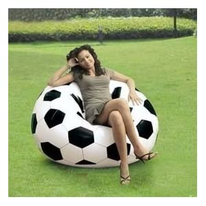 Intex Beanless Bag Inflatable Giant Football No Bean Beanbag Couch Chair + Free Air Hand Pump