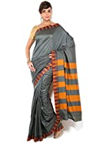 Floral Silk Saree Collections-Grey-POSB32-VS-Georgette