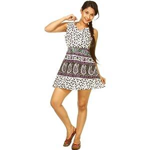 Exotic India Printed Paisleys Summer Dress