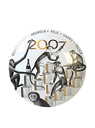 Fornasetti New Year 2007 Plate, White/Grey/Gold