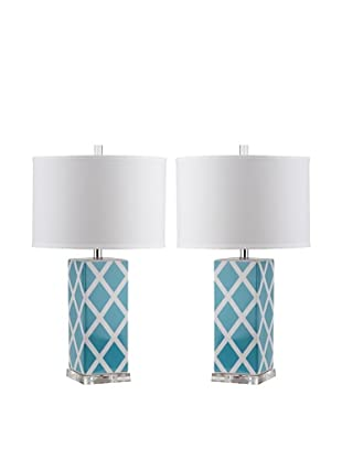 Safavieh Set of 2 Garden Lattice Table Lamps, Light Blue