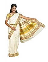 Atex Cotton Saree with Blouse (5136_Ivory)