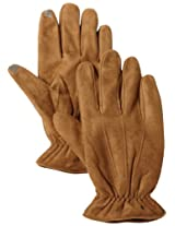 Isotoner Men's Smartouch Brushed Microfiber Glove Ultraplush Lined, Luggage, Large