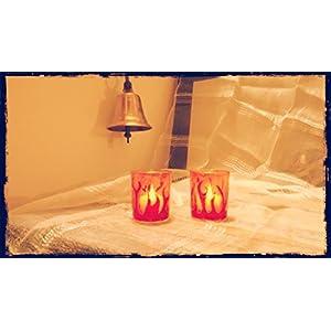 Hued Golden Orange Flamed Candle Holder