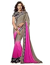 Viva N Diva Pink & Grey Color Chiffon Saree.