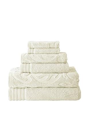 Luxury Home 6-Piece Medallion Swirl Egyptian Cotton Towel Set, Ivory
