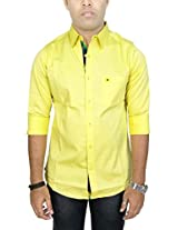 AA' Southbay Men's Lemon Yellow Stretch Cotton Long Sleeve Solid Casual Shirt