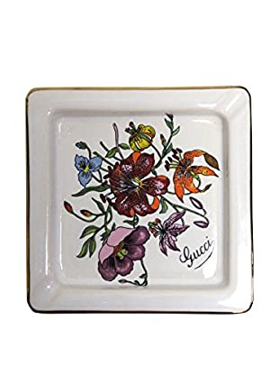 Gucci Square Ashtray with Flowers, White/Red/Purple/Green