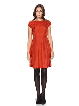 SIYU Vestido La Seda Manga Corta (Naranja)