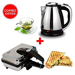 Combo of 1.5L Electric Kettle + Sandwich Toaster