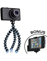 JOBY Gorillapod Flexible Tripod (Sky Blue) and a Bonus IVATION Universal Smartphone Tripod Mount Adapter works for iPhone 5, 5s, 6, 6 Plus, HTC One, Galaxy s2, S3, S4, S5, S6, Blackberry Z10,Q10, Motorola Droid and Most Smartphones