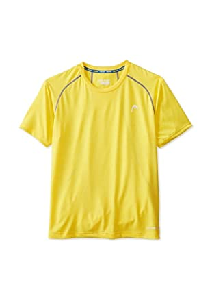 HEAD Men's Net Hypertek Crew Shirt (Cyber Yellow Heather)