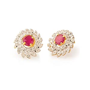 Voylla Stud Earrings With Floral Motif Encrusted With Red Colored Stone