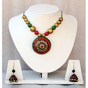 Anikalan Designs Multicolor Surya Kiran Pendant Terracotta Necklace Set